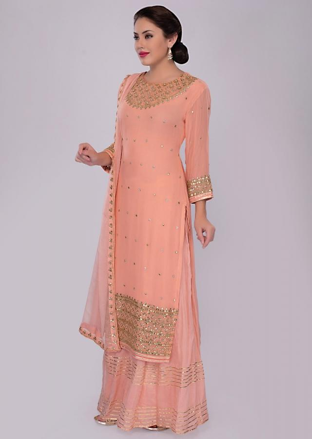 Peach Suit In Georgette With Gotta Patch Embroidery Online - Kalki Fashion