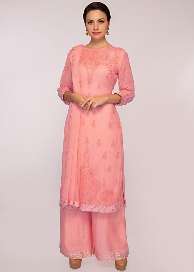 Peach Suit In Georgette With Matching Palazzo And Chiffon Dupatta Online - Kalki Fashion
