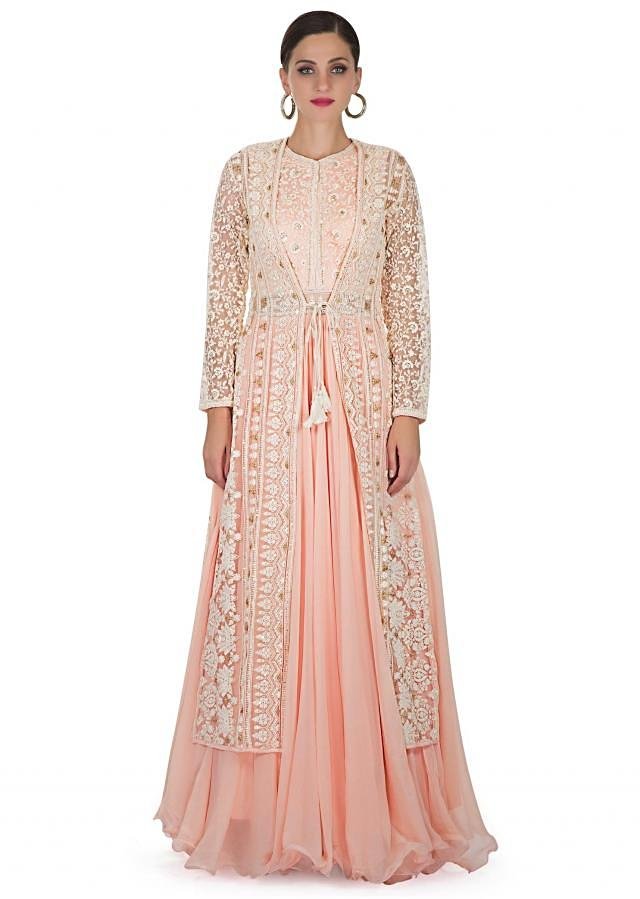 Peach Georgette Top and Net Jacket Styled with Elaborate Resham Embroidery only on Kalki