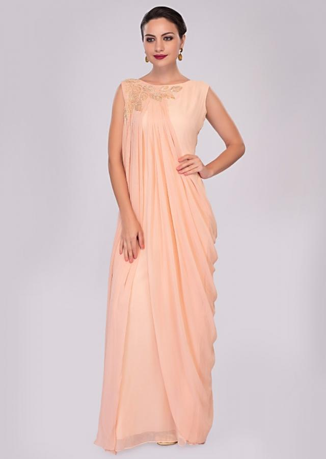 Peach Tunic Dress In Georgette Enhanced With Pleats And Side Cowl Drape Online - Kalki Fashion