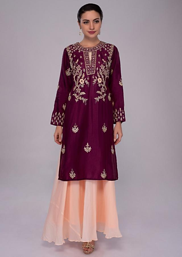 Peach Tunic Dress In Georgette With Jam Purple Embroidered Top Layer Online - Kalki Fashion