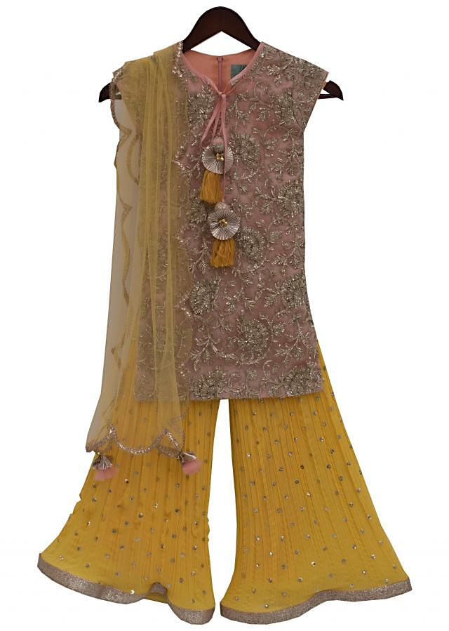 Peach Gota Embroidery Kurti with Yellow Sharara by Fayon Kids