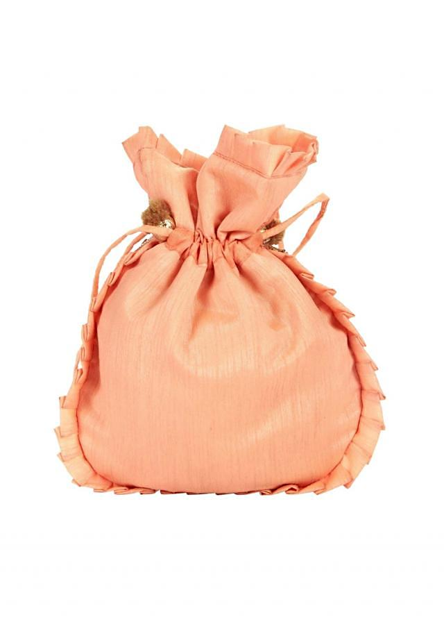 Peach gotta patch Embroidered Potli Bag only on Kalki
