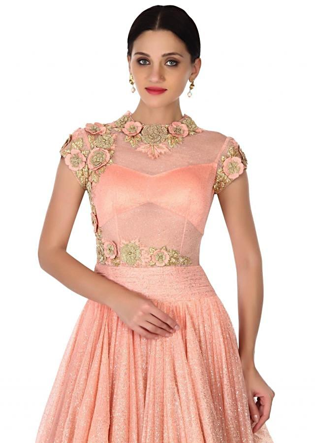 Peach gown adorn in 3D floral embroidery only on Kalki