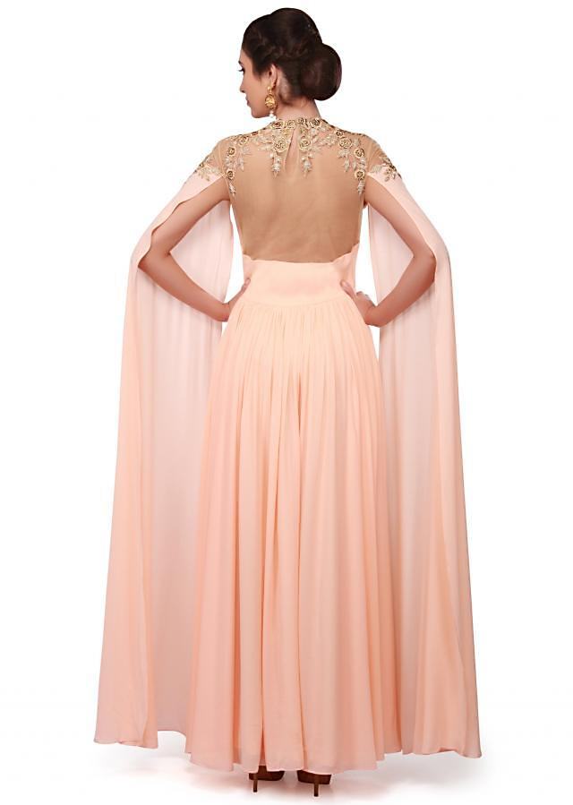 Peach gown adorn in georgette with fancy sleeve only on Kalki