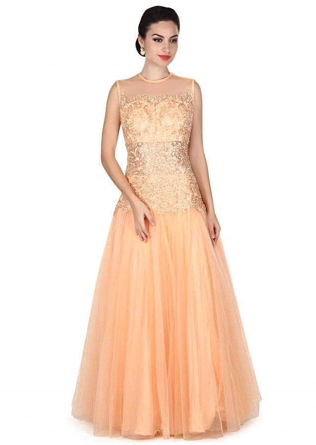 Peach gown adorn in resham and zari embroidery only on Kalki