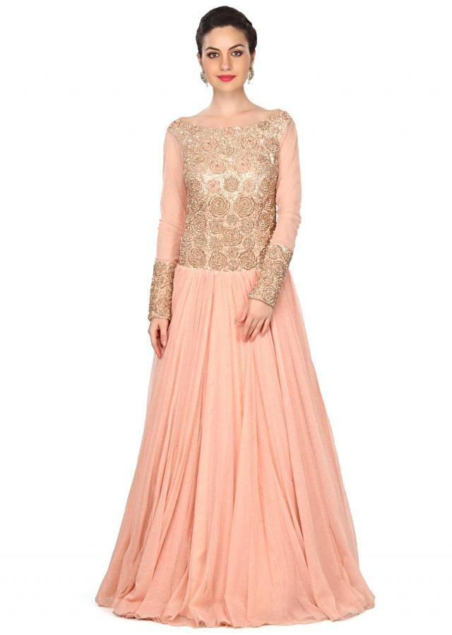 Peach gown adorn in rose motif embroidery only on Kalki