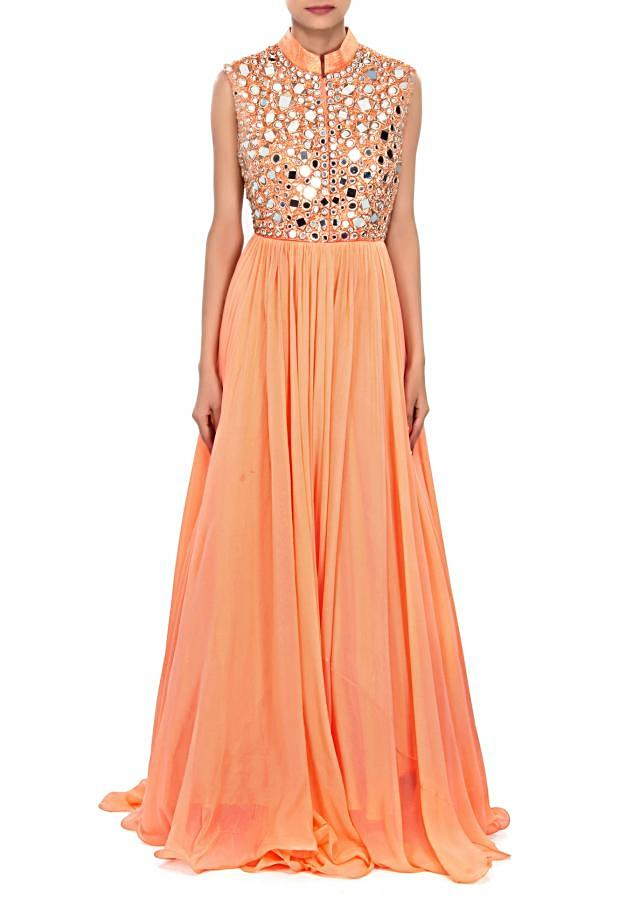 Peach gown embellished in mirror and zari embroidery only on Kalki