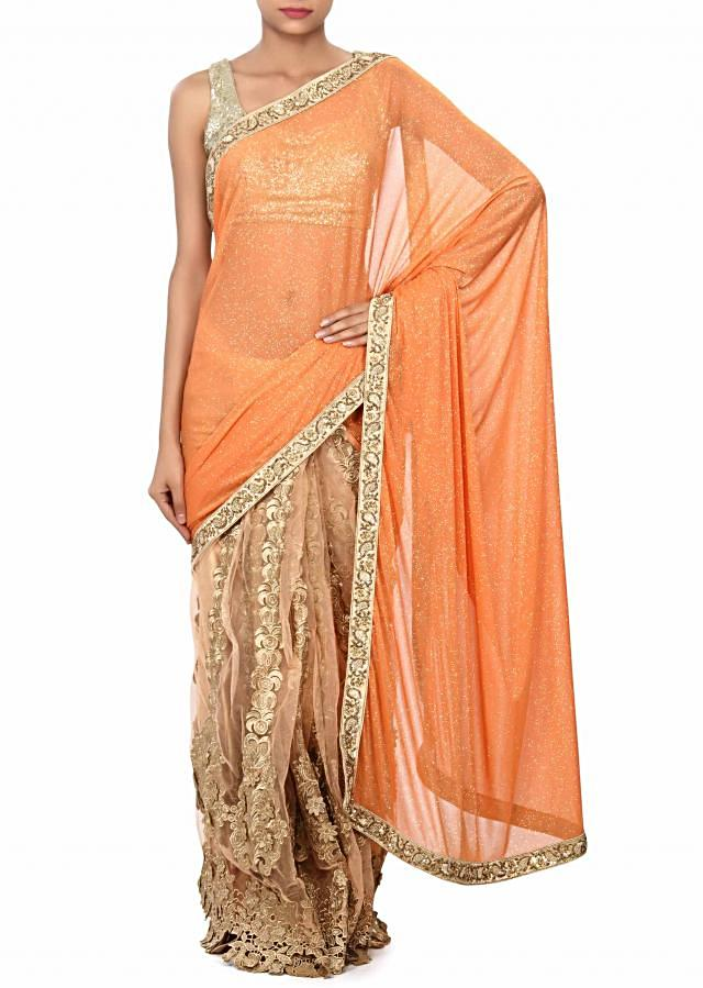 Peach half and half saree enhanced in French knot and cut work border only on Kalki
