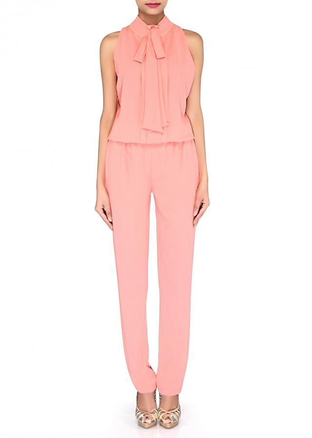 Peach jumpsuit enhanced in chinese collar only on Kalki
