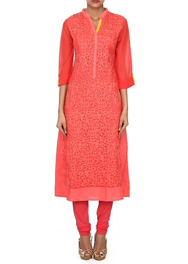 Peach kurti adorn in floral motif resham embroidery only on Kalki