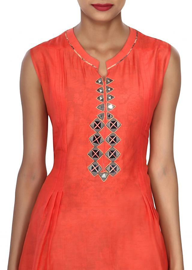 Peach kurti adorn in mirror embellished placket only on Kalki