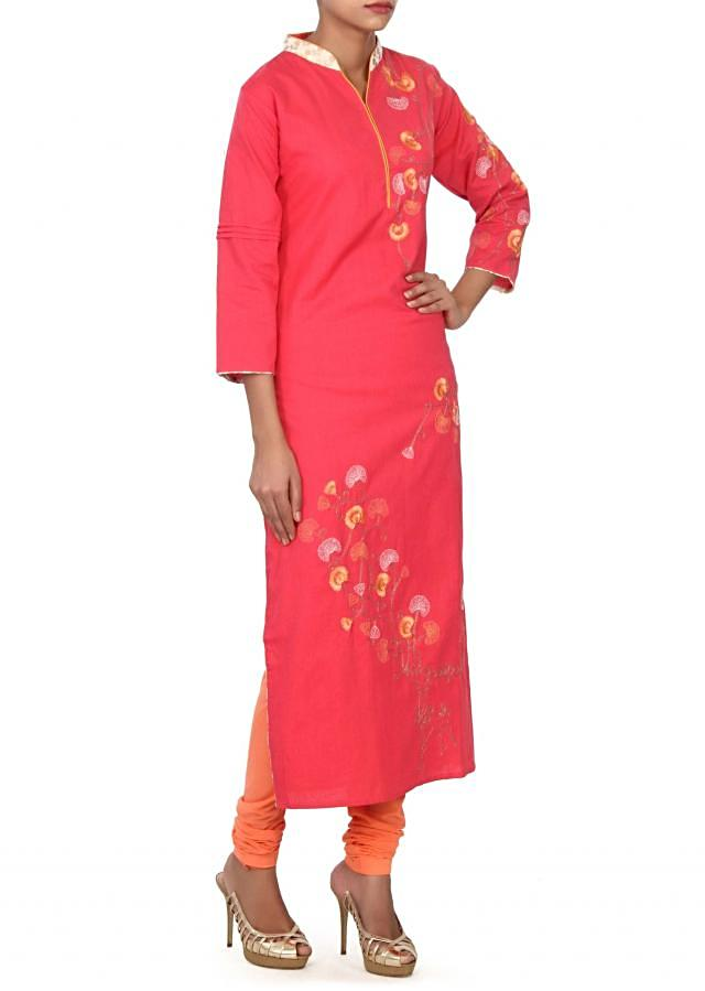 Peach kurti adorn in resham embroidery only on Kalki