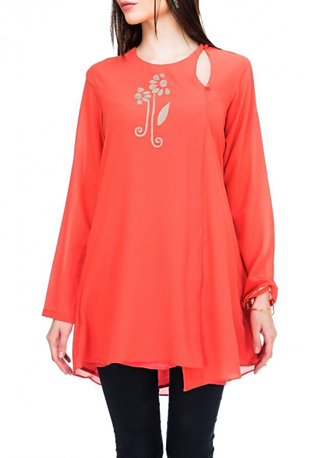 Peach kurti enahcned in thread embroidery only on Kalki