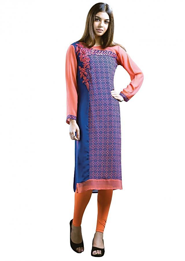 Peach and blue kurti featuring in georgette. Its enhanced in print and resham embroidered applique work.