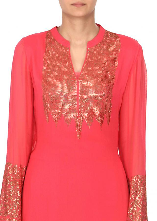 Peach kurti features with kundan embroidery only on Kalki