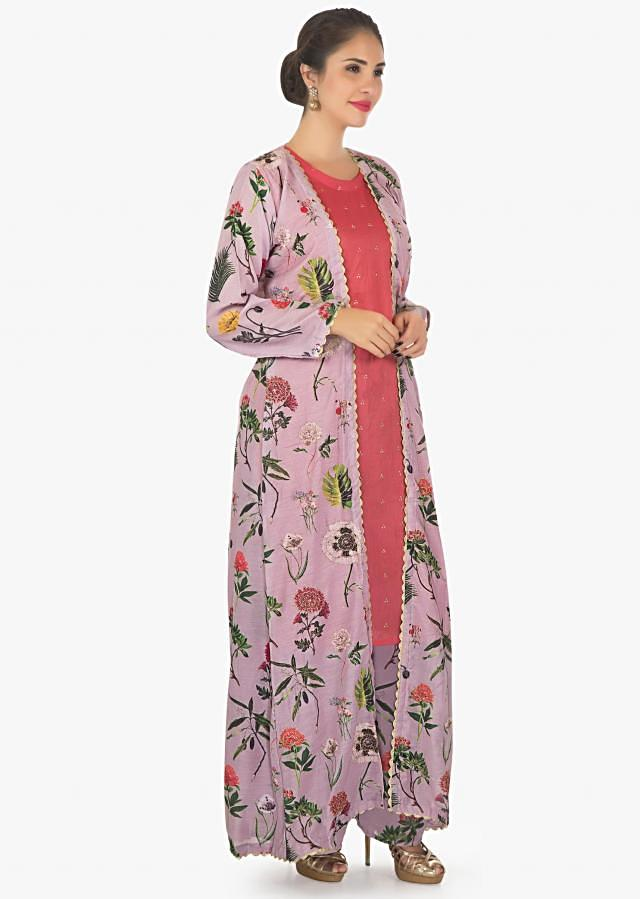 Peach kurti with floral print cotton palazzo and jacket only on kalki