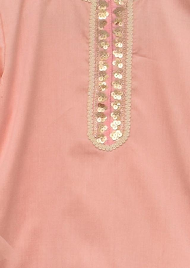 Peach Kurti With Sharara Pant And Net Dupatta Online - Kalki Fashion