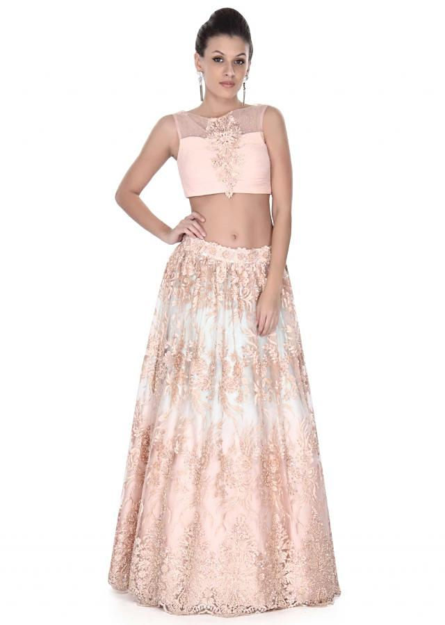 Peach lehenga adorn in resham and kundan embroidery only on Kalki