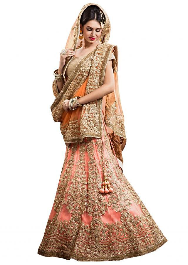Peach lehenga adorn in zari and sequined embroidery