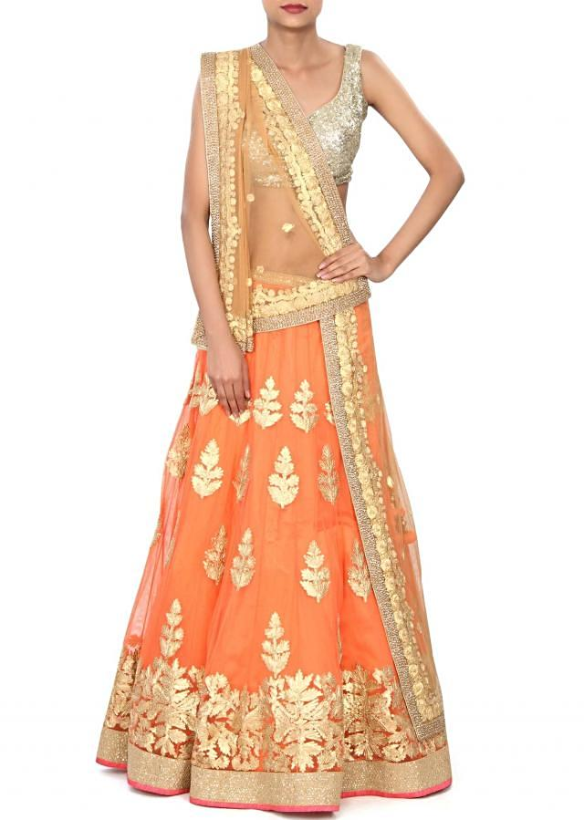 Peach lehenga embellished in gotta patti embroidery only on Kalki