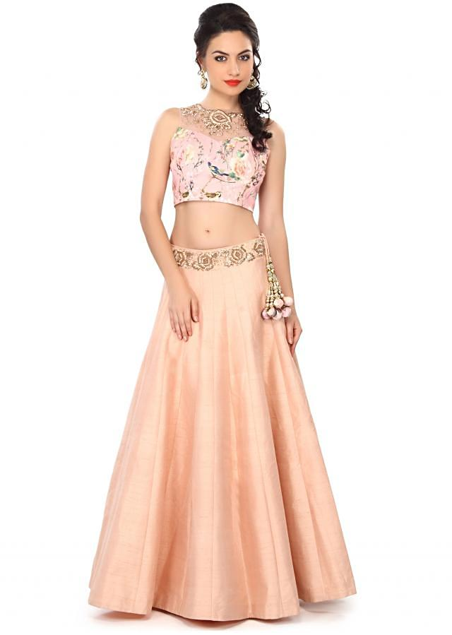 Peach lehenga embellished in printed and zardosi embroidery only on Kalki