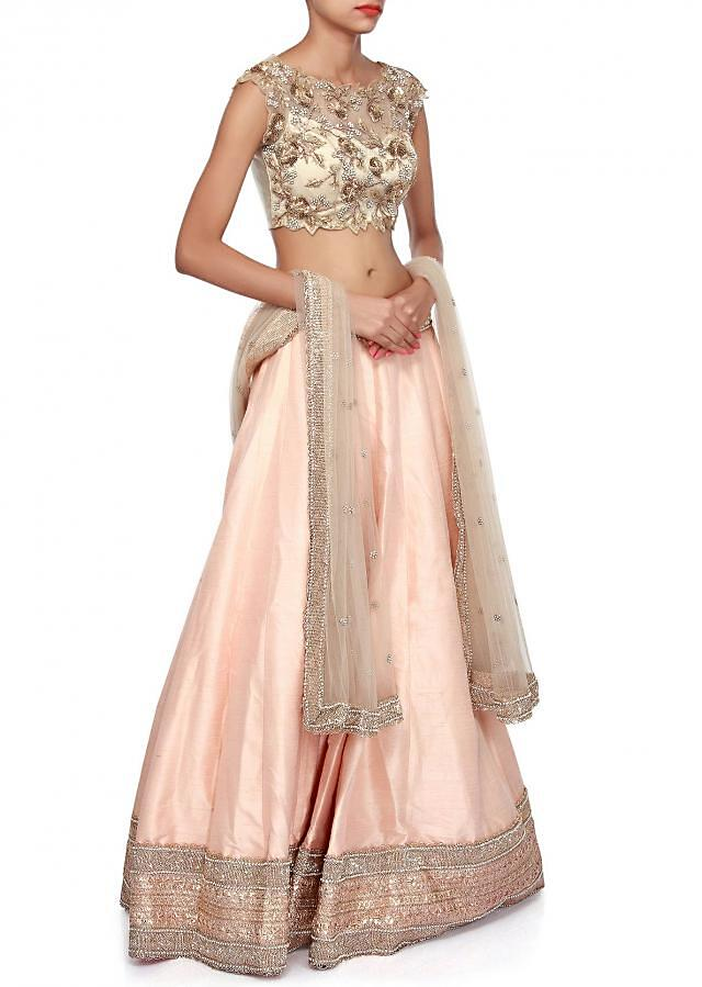 Peach lehenga features with embroidered blouse only on Kalki