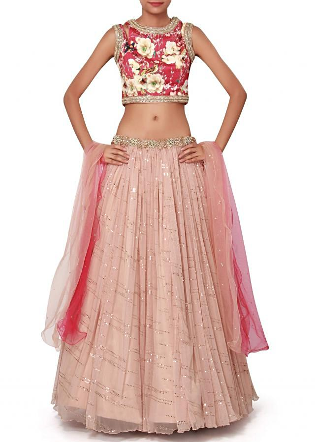 Peach lehenga matched with printed blouse only on Kalki