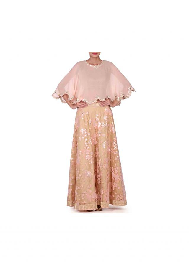Peach lehenga with gotta embroidered cape only on Kalki