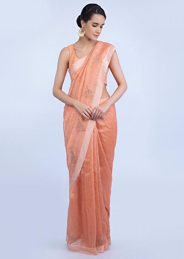 Peach Saree In Linen With Cut Dana And Moti Embroidered Butti Online - Kalki Fashion