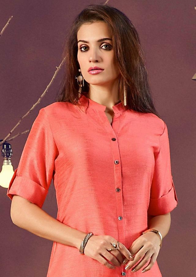 Peach long kurti in silk with shell buttons on placket