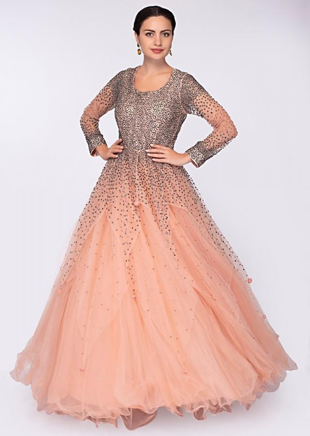 Peach multiple layer net gown with  handkerchief cut only on Kalki