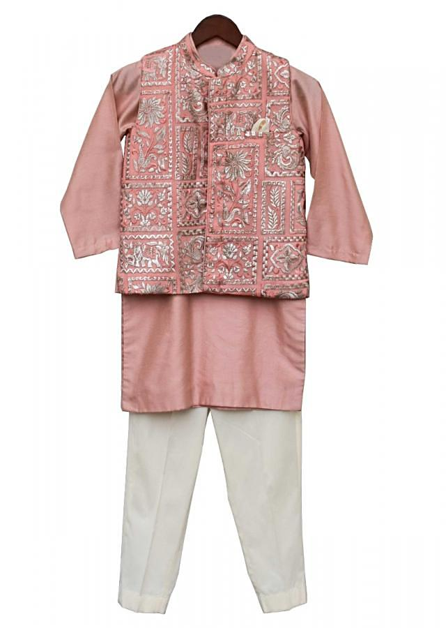 Peach Nehru Jacket With Floral Embroidery Along With Peach Kurta And Off White Churidar By Fayon Kids
