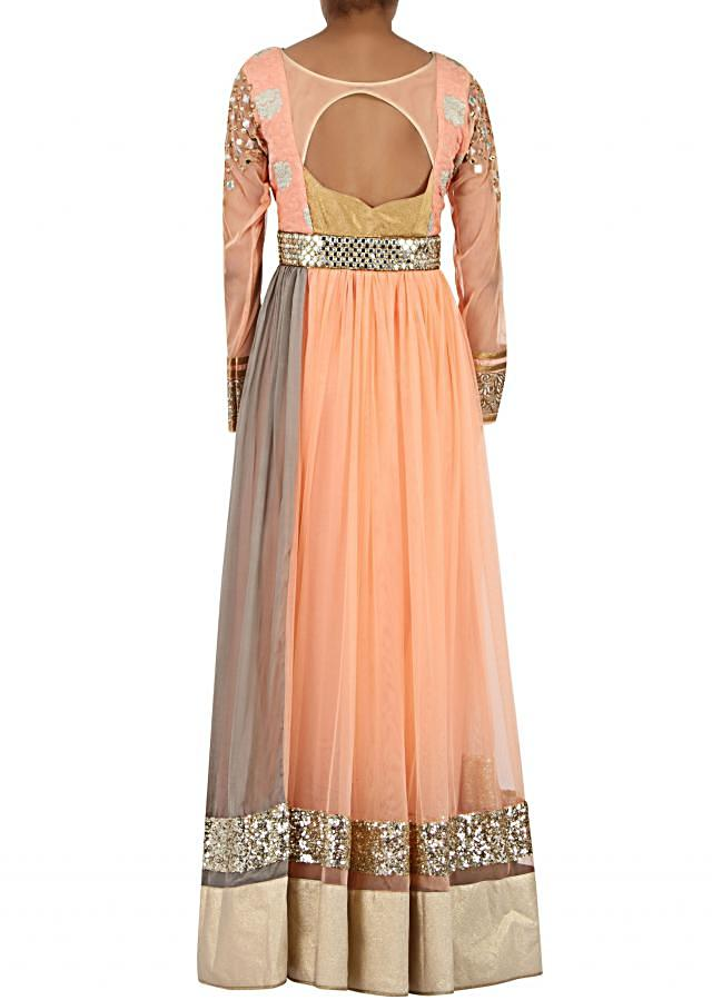 Peach net anarkali suit enhanced in thread and zari only on Kalki