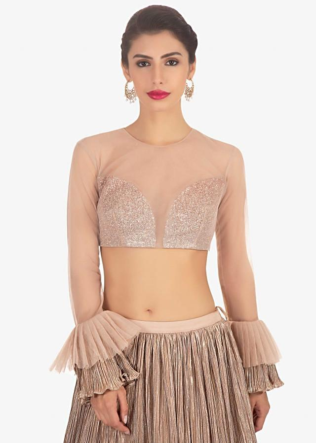 Peach Blouse In Net Paired With Double Layered Lycra Skirt With Gathers Online - Kalki Fashion