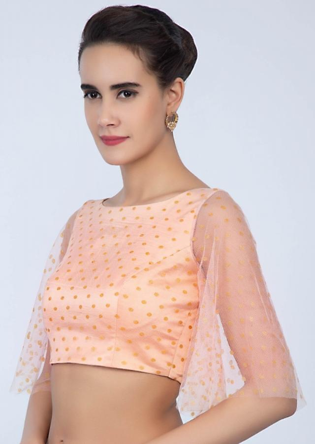 Peach net blouse with butti flared sleeves only on Kalki