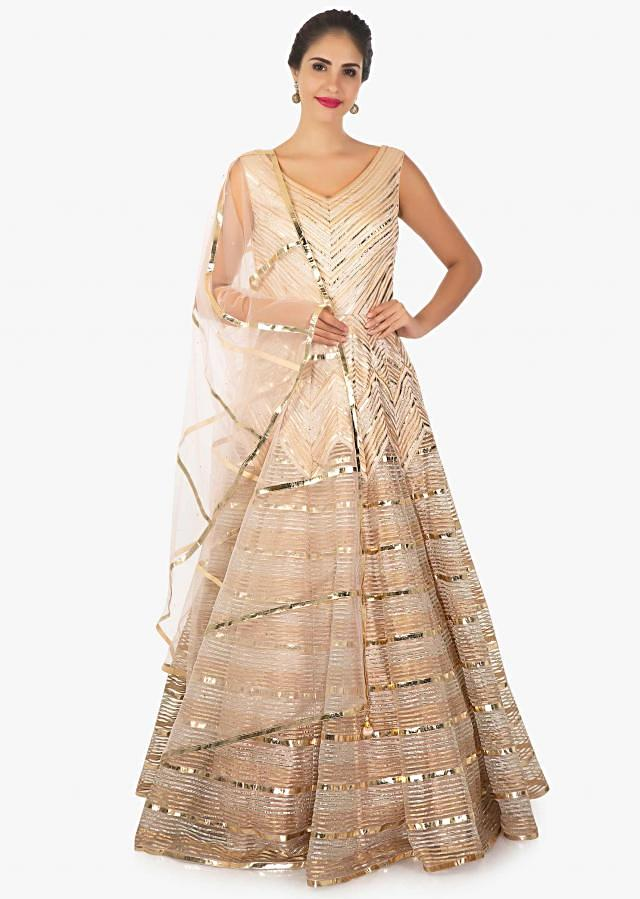 Peach Dress In Net With Gotta Lace And Applique Work Online - Kalki Fashion