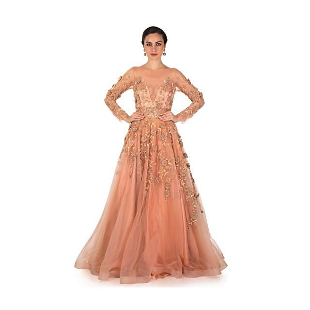 Peach Net Gown Embellished with 3D Flowers, Sequins and Moti Only on Kalki