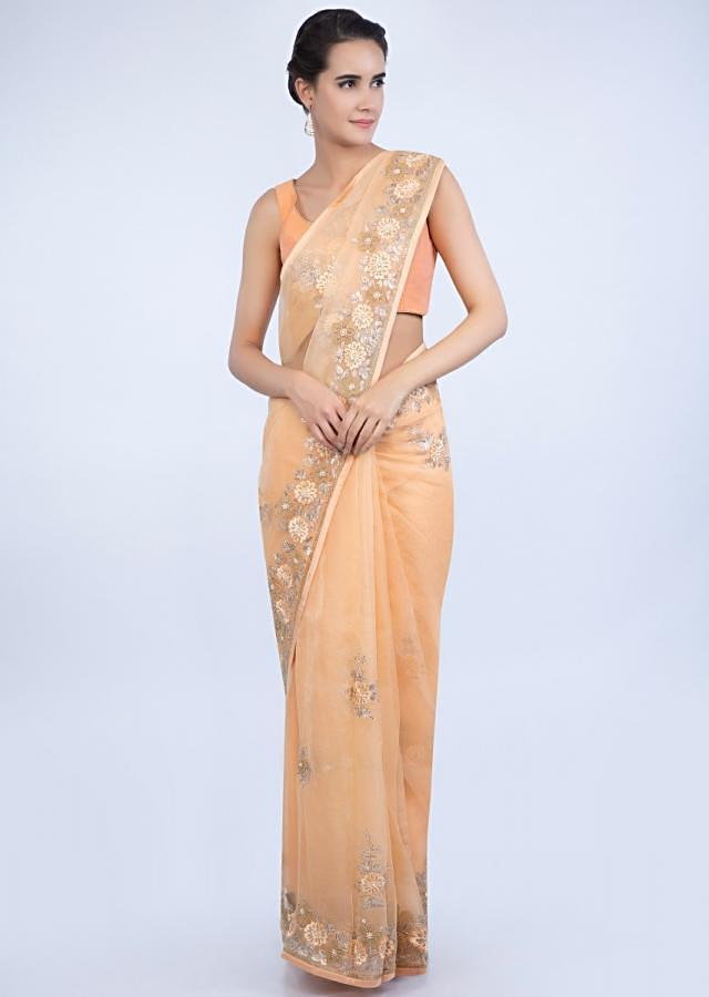 Peach Saree In Organza With Embroidered Floral Buttis And Border Online - Kalki Fashion