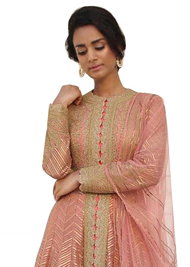 Peach pink anarkali suit in gotta embroidery