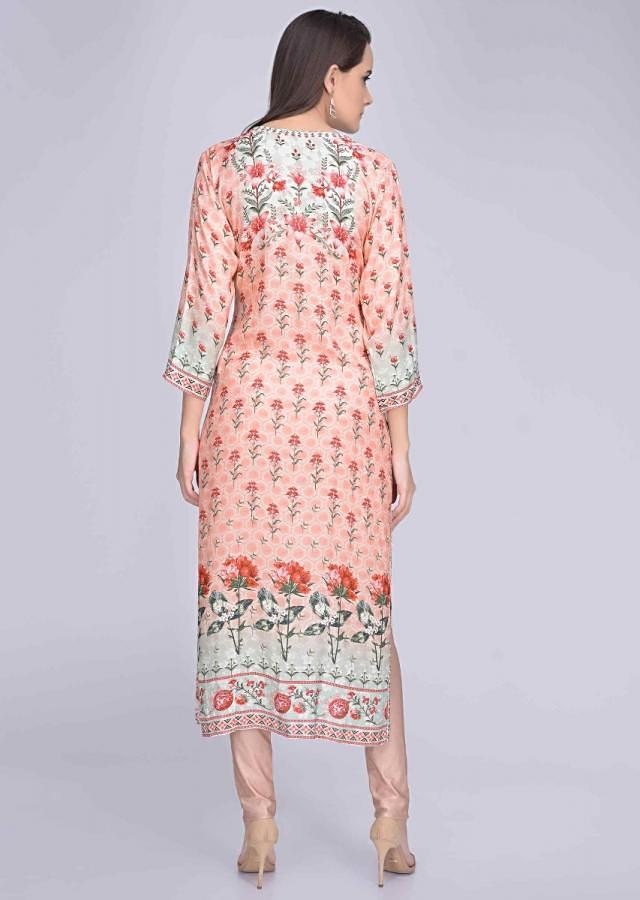 Peach Pink And Pista Green Kurti In Crepe With Digital Print Online - Kalki Fashion
