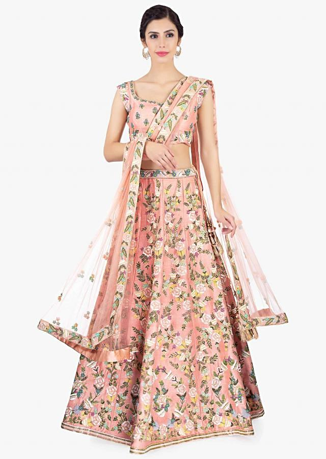 Peach Lehenga In Embroidered Raw Silk And Blouse Paired With Net Dupatta Online - Kalki Fashion