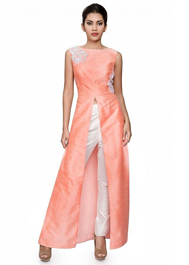 Peach raw silk tunic with front and side slit
