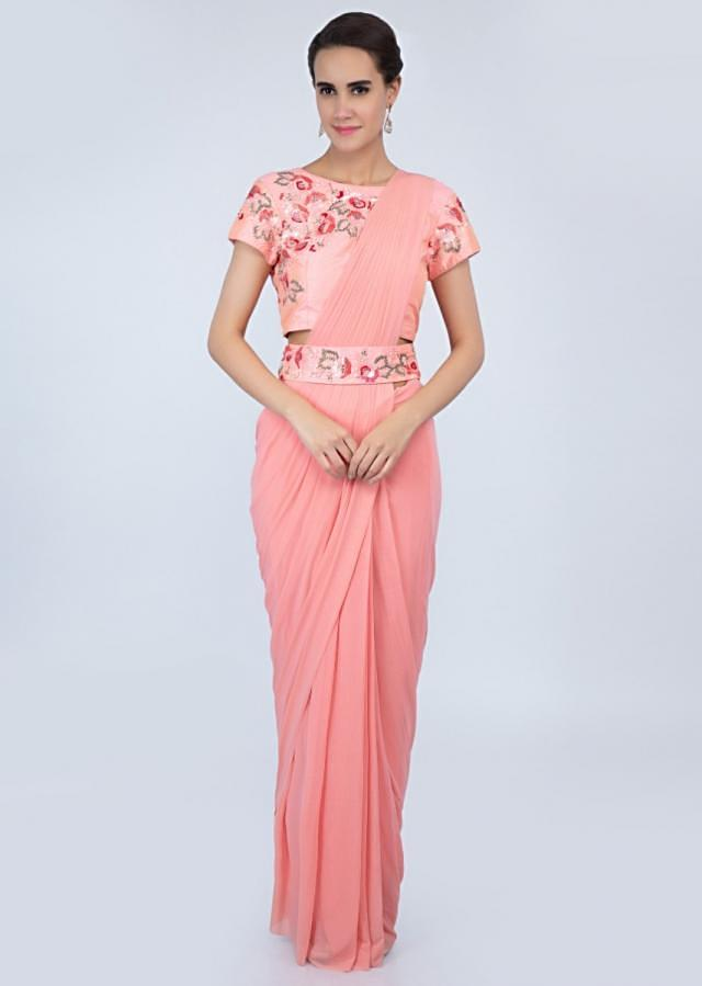 Peach ready to wear lycra saree with draped pleats and ready pleated pallo only on Kalki