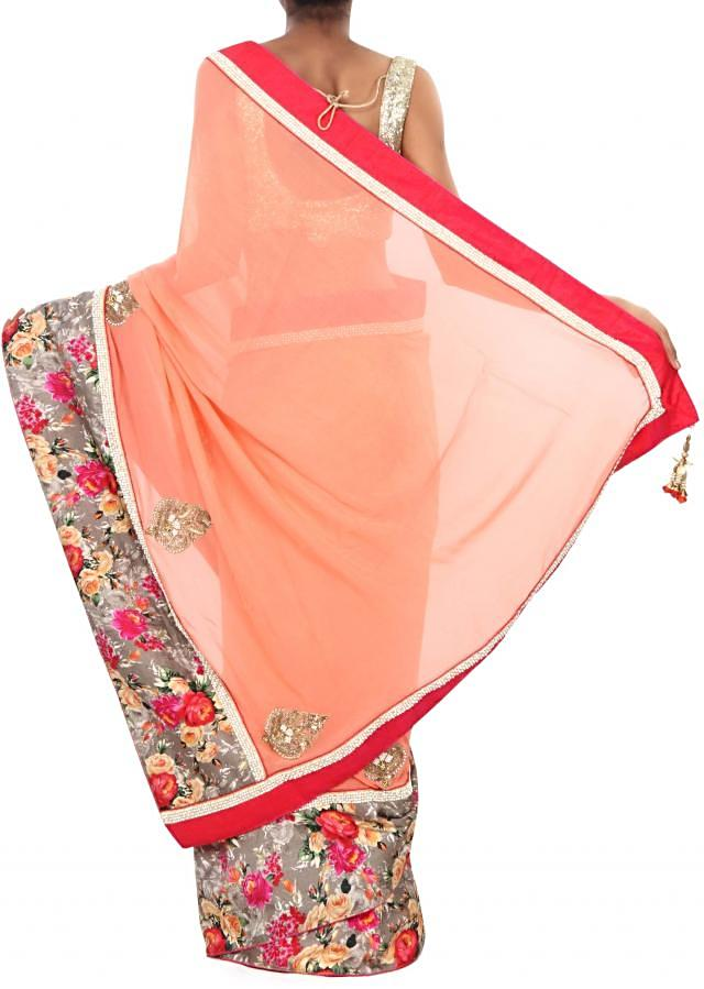 Peach saree adorn in floral print only on Kalki