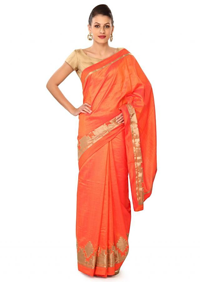 Peach saree featuring with applique border only on Kalki