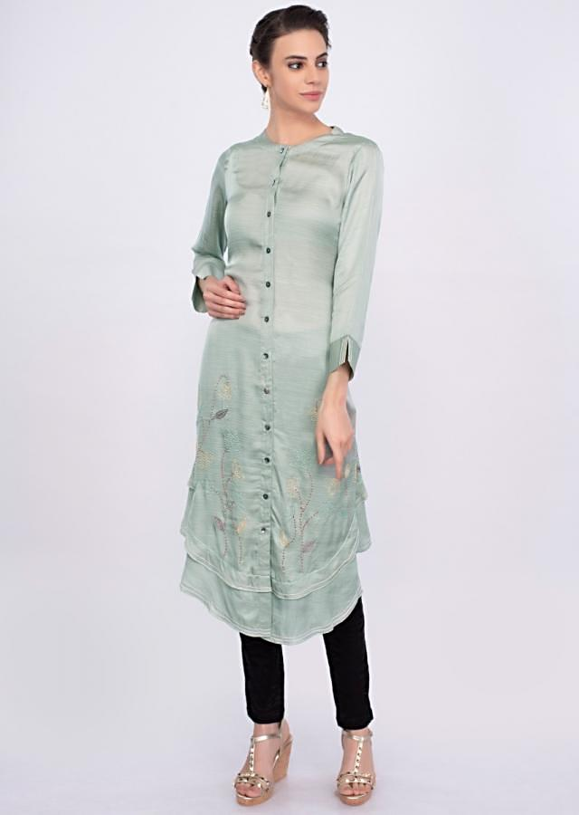 Sage Green Kurti In Satin Silk With Multi Color French Knot And Thread Embroidery Online - Kalki Fashion