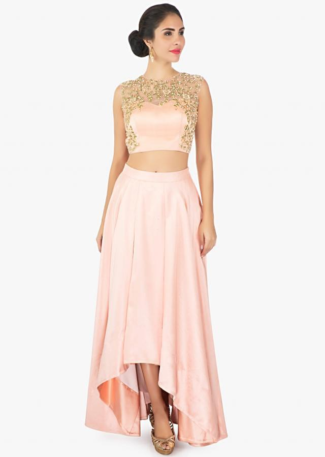 Peach Skirt In Satin With A Illusion Neck Satin And Net Blouse Online - Kalki Fashion
