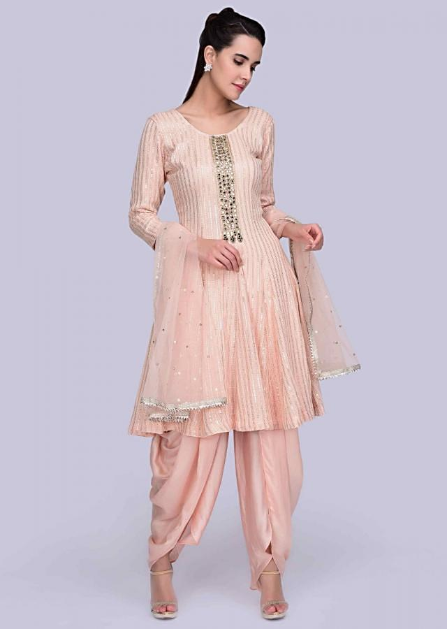 Peach Suit In Georgette With Self Thread Embroidery And Matching Dhoti And Net Dupatta Online - Kalki Fashion