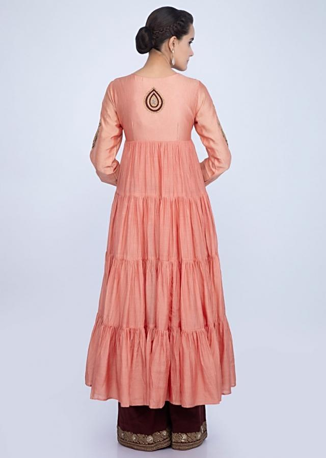Peach shaded cotton silk suit with gathers only on Kalki
